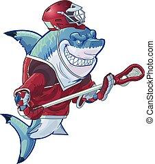 Mean Cartoon Lacrosse Shark - Vector cartoon clip art...