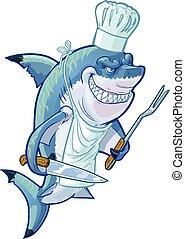 Mean Cartoon Shark Chef - Vector cartoon clip art...