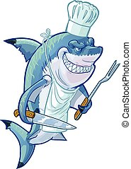 Mean Cartoon Shark Chef - Vector cartoon clip art...