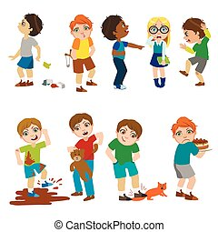 Mean Children Illustration - Mean Children Childish Cartoon...