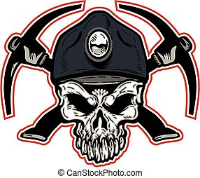 coal miner skull - mean coal miner skull with crossed ...