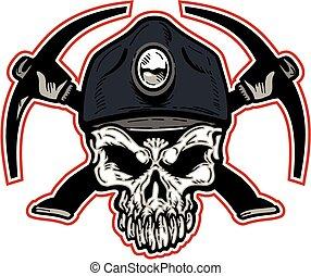coal miner skull - mean coal miner skull with crossed ...
