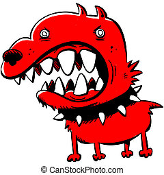 Mean Dog - A cartoon of an angry, red dog.