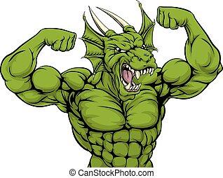 Mean Dragon Mascot - Cartoon tough mean strong green dragon...