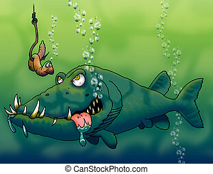 mean fish - an angry looking fish ready to take a bite of a...