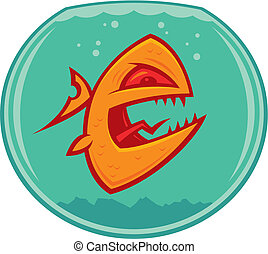 Mean Goldfish - Vector cartoon of an angry and vicious...