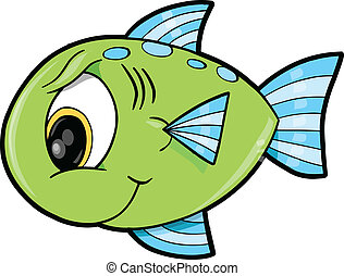 Mean Green Fish Ocean Vector