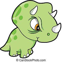 Mean Green Triceratops Dinosaur Vector