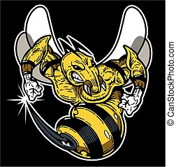 hornet - mean hornet or wasp mascot for school, college or...