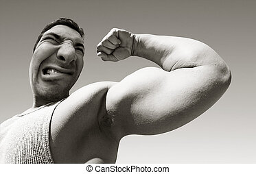 Mean man with big muscles - An ugly mean man with big...