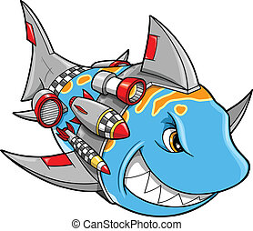 Robot Cyborg Shark Vector Illustrat - Mean Metal Armed Robot...