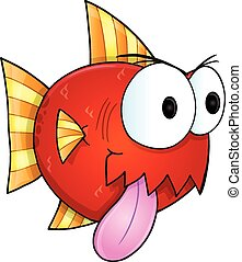 Mean Nasty Fish Vector Illustration