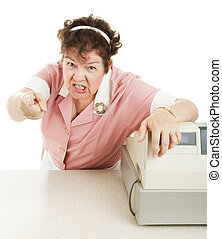 Mean, angry cashier in a school lunchroom or cafeteria. White background.