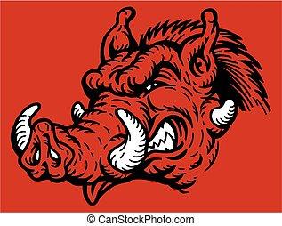 razorback mascot - mean razorback mascot head for school, ...