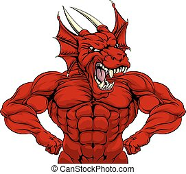 Mean Red Dragon Mascot