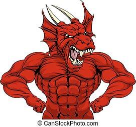 Mean Red Dragon Mascot