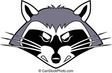 Mean Stylized Cartoon Raccoon Head - Vector cartoon clip art...