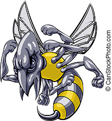 Mean wasp or hornet mascot