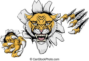 Mean Wildcat Mascot - An illustration of a wildcat animal...