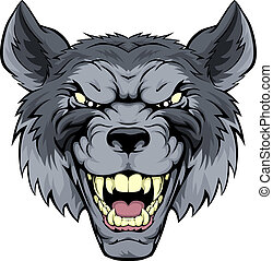 Mean Wolf Mascot - A mean looking wolf mascot character ...