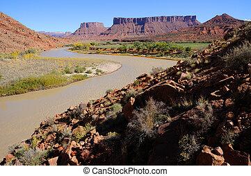 meander, em, rio colorado, perto, recurso deserto