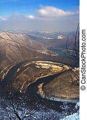 Meander - The West Morava River and its meander . Winter...