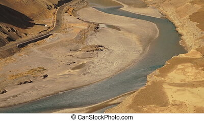 Meandering Indus River, Northern India - Medium high angle...