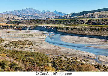 meandering river in Awatere valley in New Zealand - aerial...