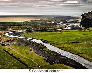 Meandering river near Skogar (Iceland)