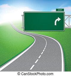meandrowa droga, z, droga znaczą