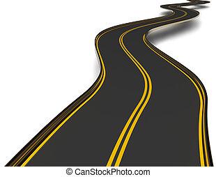 meandrowy, asfalt droga, z, podwójny, działowy, pas