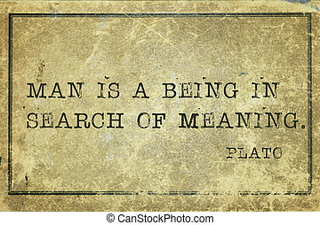 meaning Plato - Man is a being in search of meaning -...