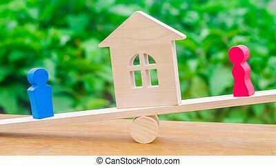 means., figure, proprietà, divisione, court., legno, conflict., standing, legale, scale., uomo, clarification, persone., prova, proprietà, divorzio, donna, house.