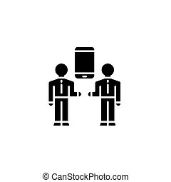 Means of communication black icon concept. Means of communication flat  vector symbol, sign, illustration.