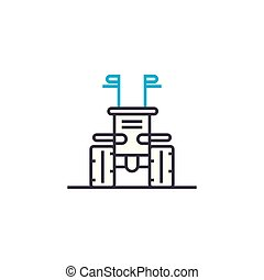Means of production linear icon concept. Means of production line vector sign, symbol, illustration.