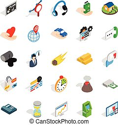 Means of subsistence icons set, isometric style - Means of...