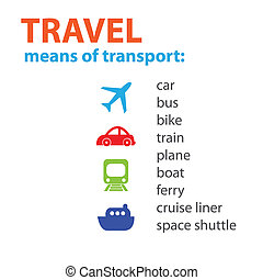 Travel. Different means of transport. Vector scheme.