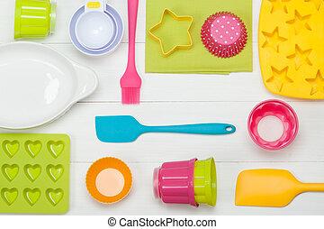 measur, tools., silicone, het koken, cupcake, bakkerij,...