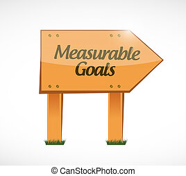 measurable goals wood sign concept