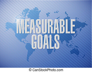 measurable goals world map sign concept
