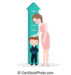 measure child kid height mother woman ruler meter grow healthy full color