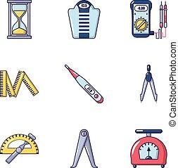 Measure icons set, cartoon style
