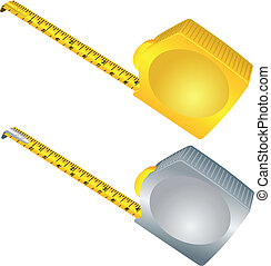 Silver and gold measure meter over white
