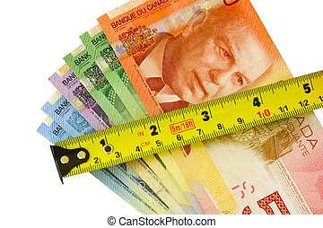 Measure of success - money bills and measure tape on white