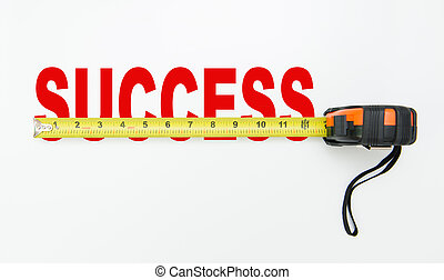 Tape measure over word of success isolated on white background