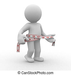 Measure - 3d human with measure in waist