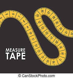 measure tape design - measure tape graphic design , vector...