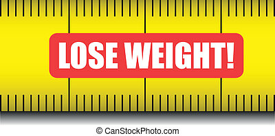 "detailed illustration of a measure tape with ""lose weight"" text, eps10 vector"