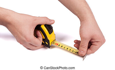 measure tape in hands isolated on white background