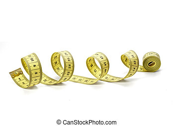 close up of measure tape on white background with clipping path